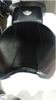 Leather motorbike seat restored