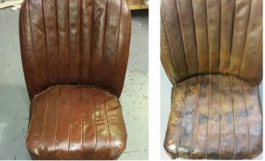 Leather car seat before and after restoration